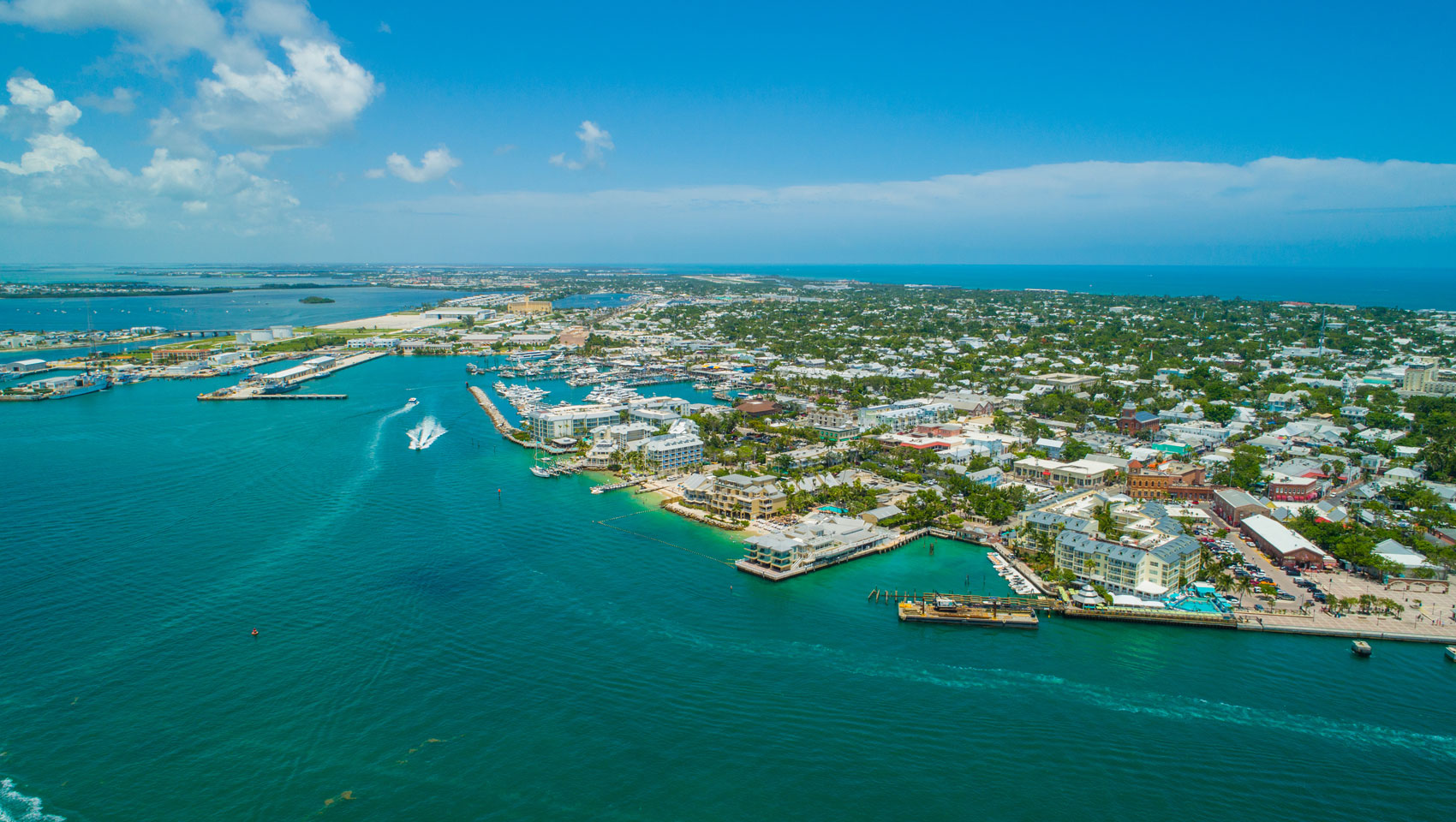 aerial view of key west with ocean and city views